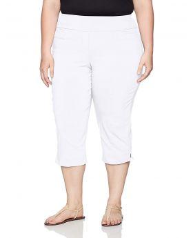 Pantalones capri sin cierre Alfred Dunner Plus Size blanco 24W