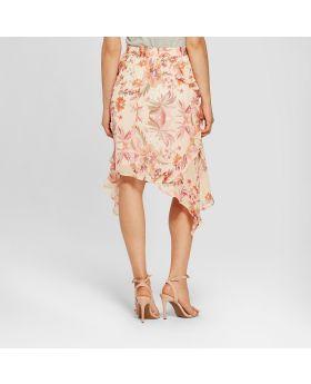 Falda con volantes con estampado floral para mujer - Notaciones - Rosa
