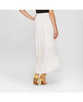 Falda cruzada con volantes para mujer - Notaciones - Blanco