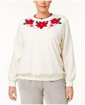 Alfred Dunner Plus Size Poinsettia Sudadera Ivory 3X