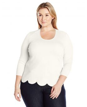 Melissa McCarthy Seven7 Trendy Plus Size Scalloped-Hem Egret 0X