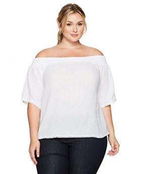 RAQUEL Rachel Roy Trendy Plus Size Off-The-Shoul Blanco 0X